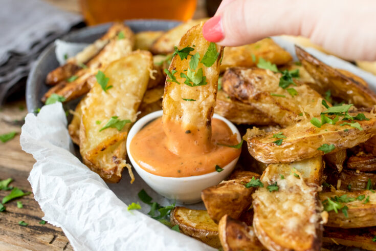 These Garlic Parmesan Potato Wedges with Special Sauce are perfect for snack time!