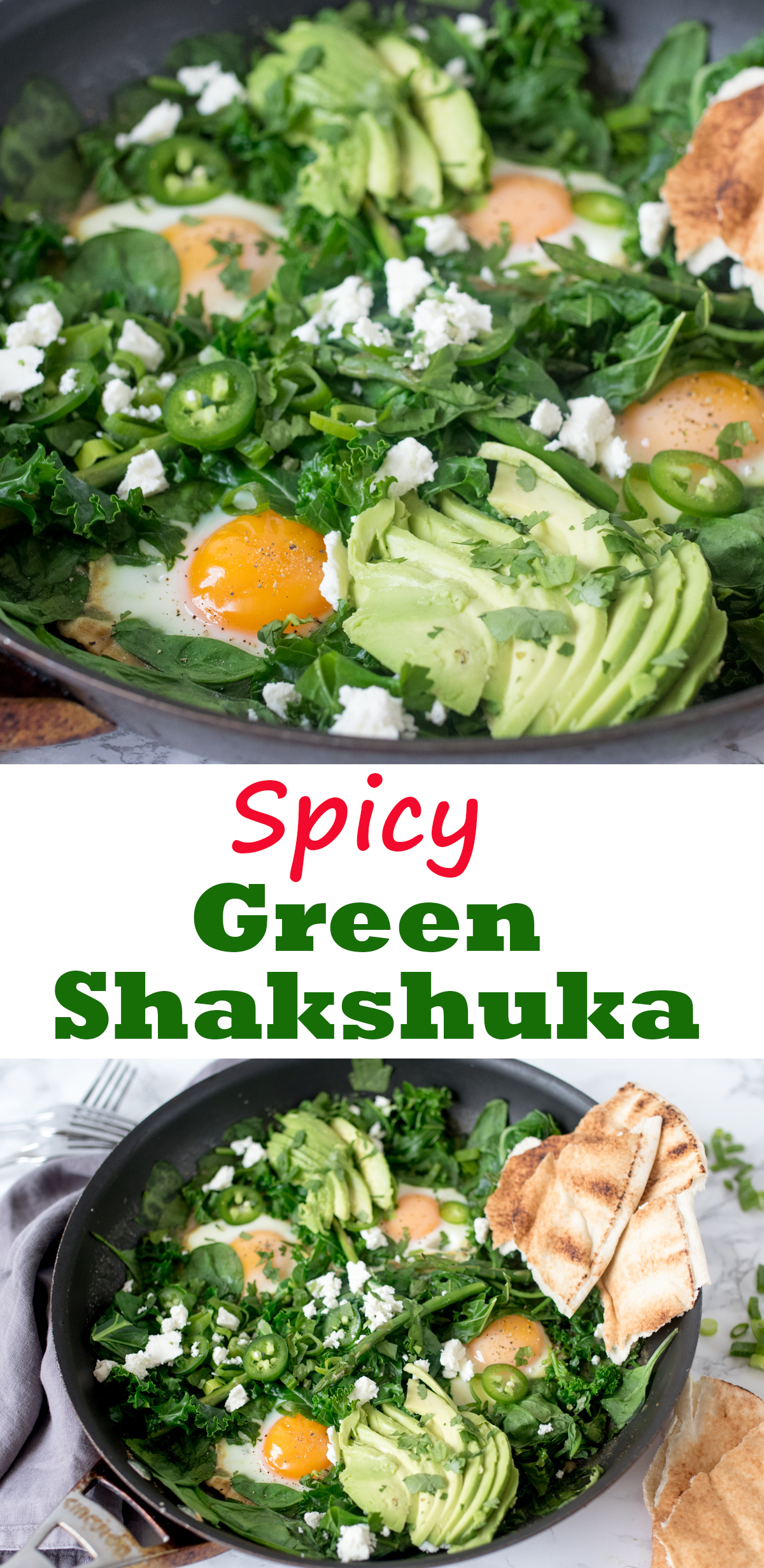 Green Shakshuka - a spicy brunch dish with dippy eggs, green veg and Thai-inspired sauce.