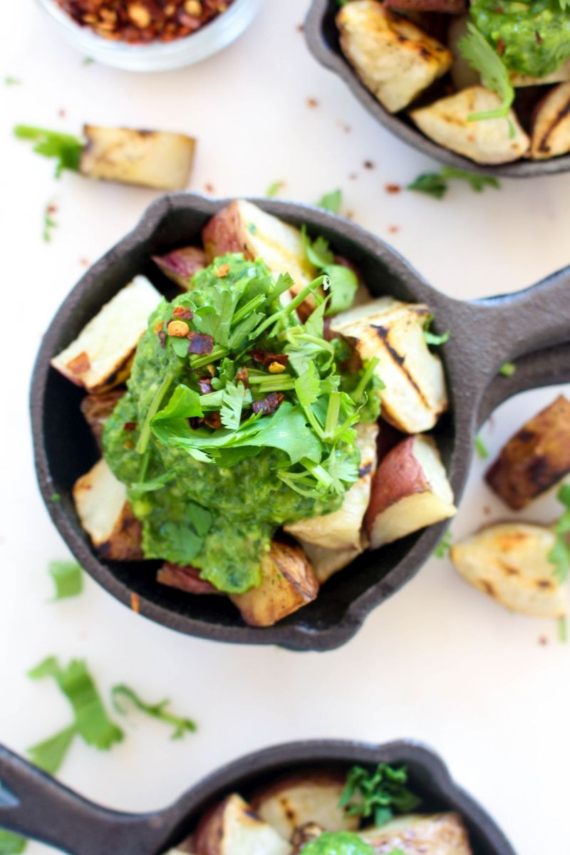 Grilled potatoes with avocado chimichurri chimichurri