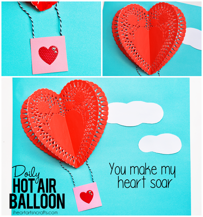 Heart doily hot air balloon