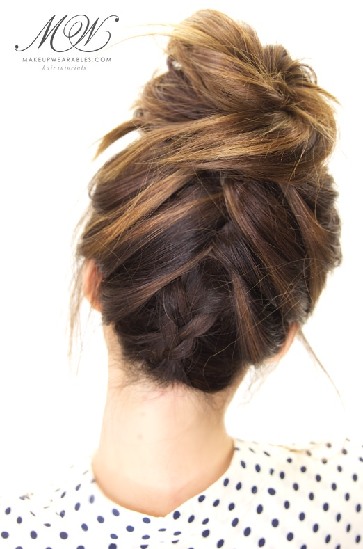 How to cute braided messy bun on yourself hairstyle tutorial