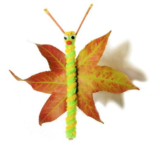 Leaf and pipecleaner butterflies