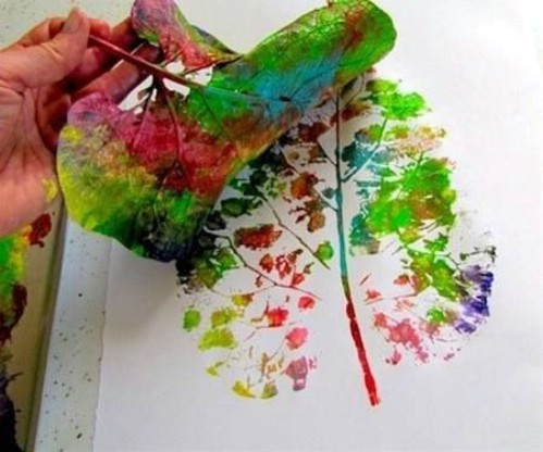 Leaf tree paint print