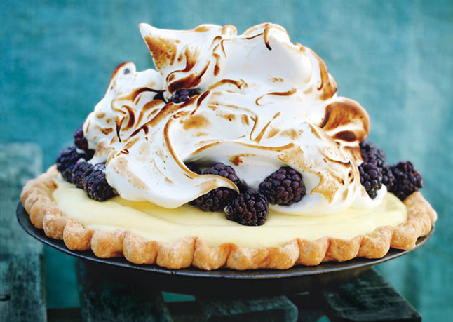 Lime and blackberry italian meringue pie