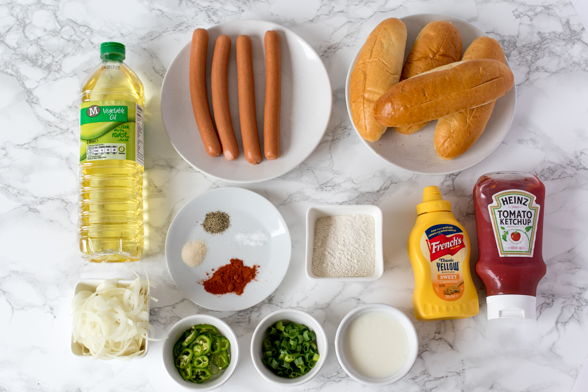 Loaded hot dog with shoestring onion fries ingredients