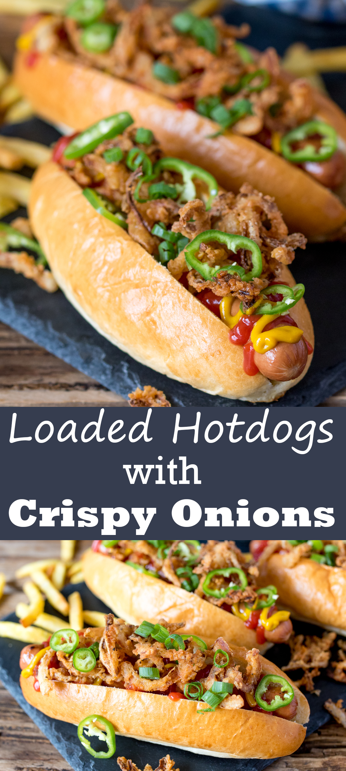 Loaded hot dog with shoestring onion fries
