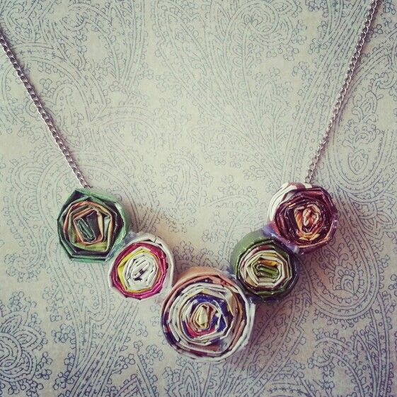 Magazine paper wheel necklace