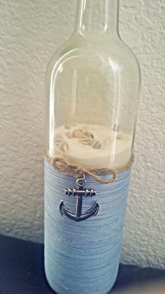 Nautical upcycled wine bottles