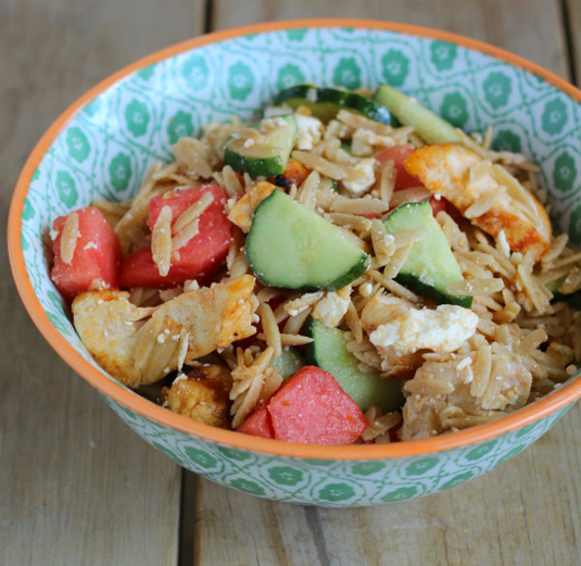 Orzo salad with chicken, watermelon, and feta