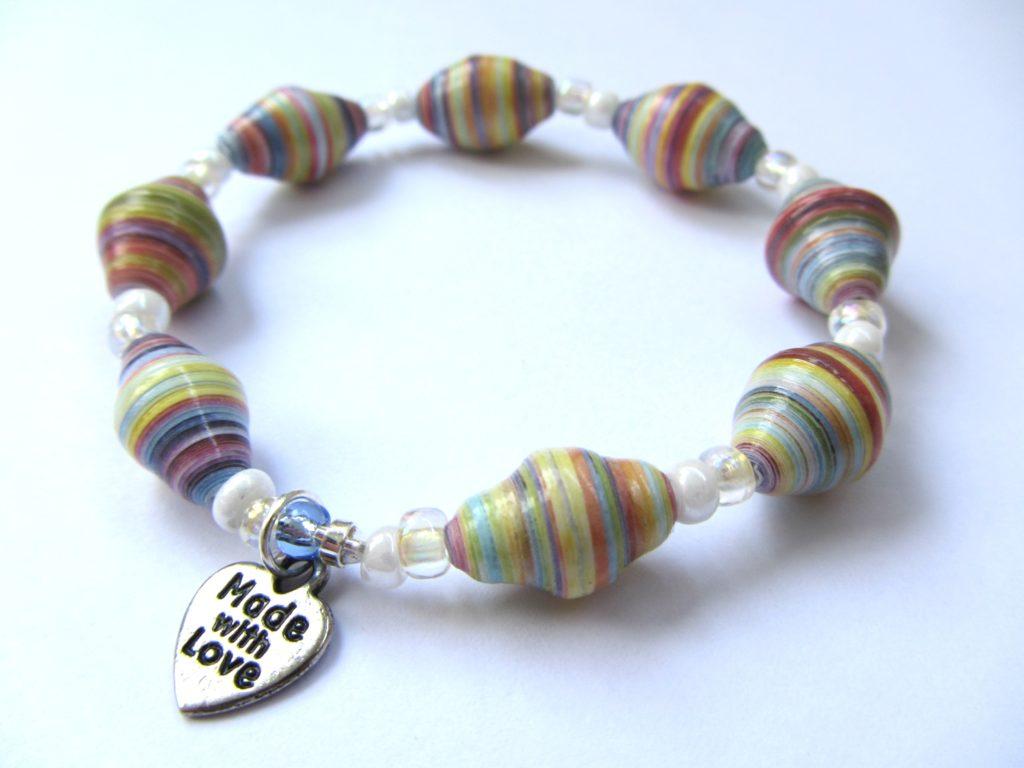 Paper bead charm bracelet