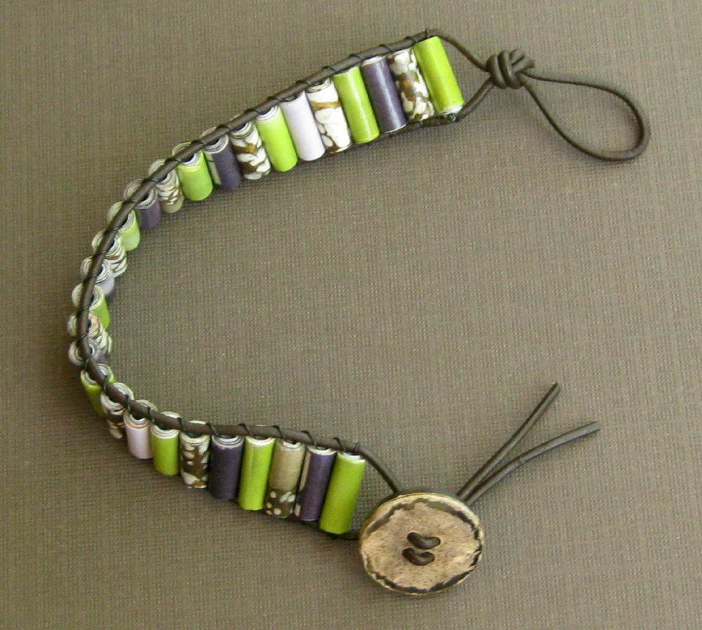 Paper bead leather and button bracelet