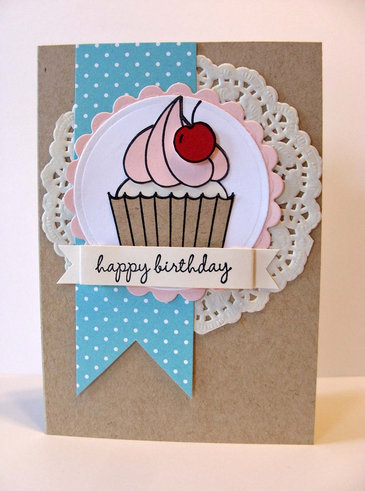 Cute diy birthday card ideas paper doily cupcake card m4hsunfo