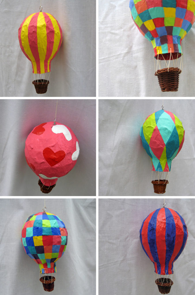 Papier mache hot air balloons