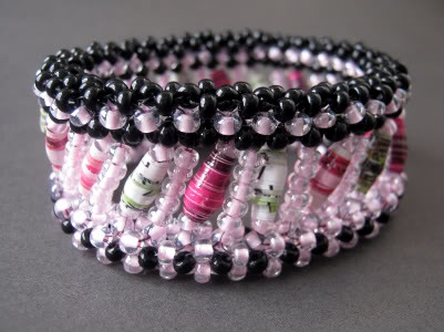 Pink orchid paper bead bangle