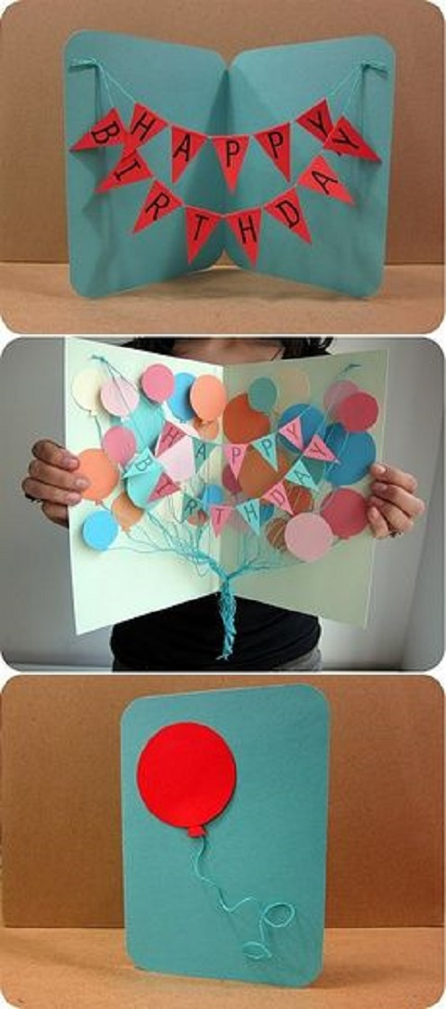 Pop out birthday banner and balloon card