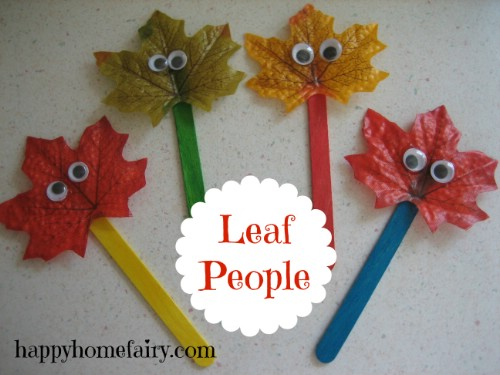 Popsicle stick leaf puppets