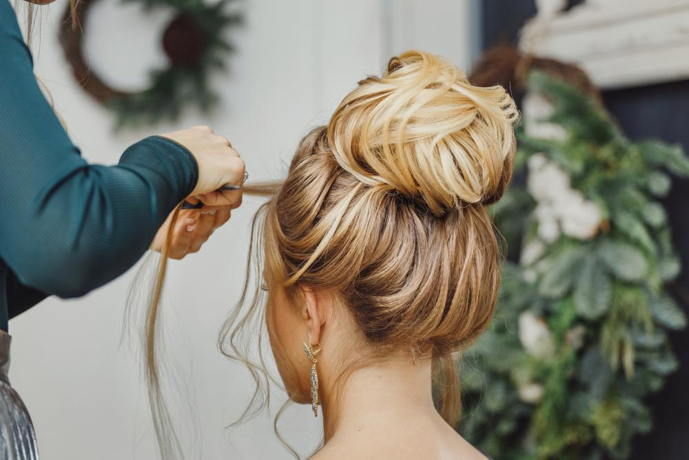 Poufy updos for long hair