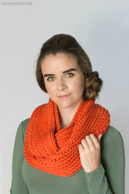 Ribbed chunky infinity scarf free crochet pattern 6