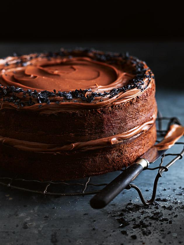 Salted dark chocolate layer cake with milk chocolate ganache