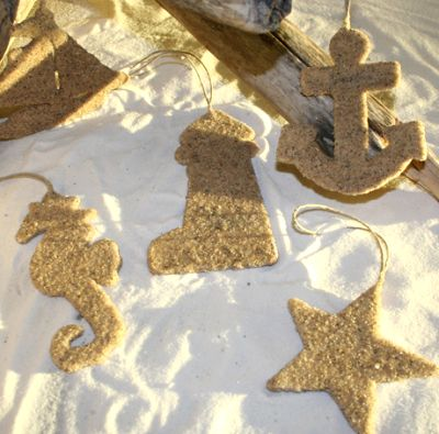 Sand and glue nautical ornaments