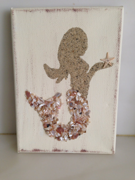 Seahshell and sand mermaid canvas