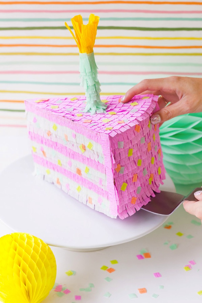 Slice of birthday cake pinata