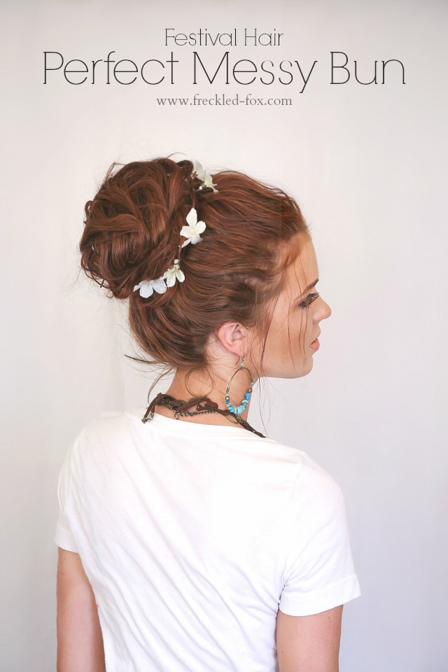 The freckled fox hair tutorial festival hairstyle bohemian perfect messy bun main