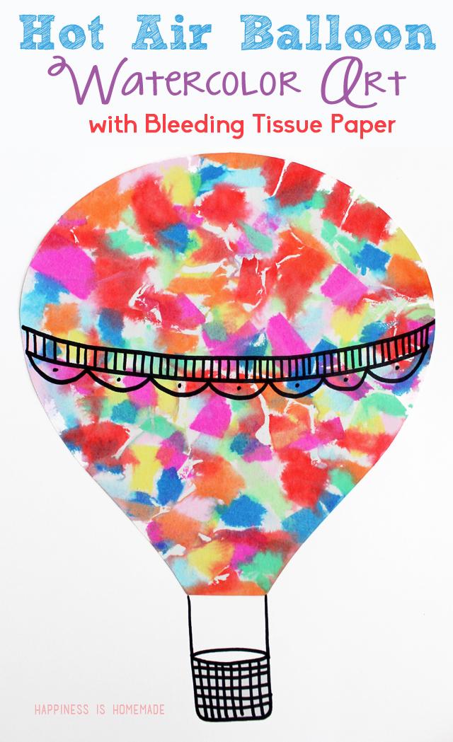 Tissue paper water colour hot air balloon