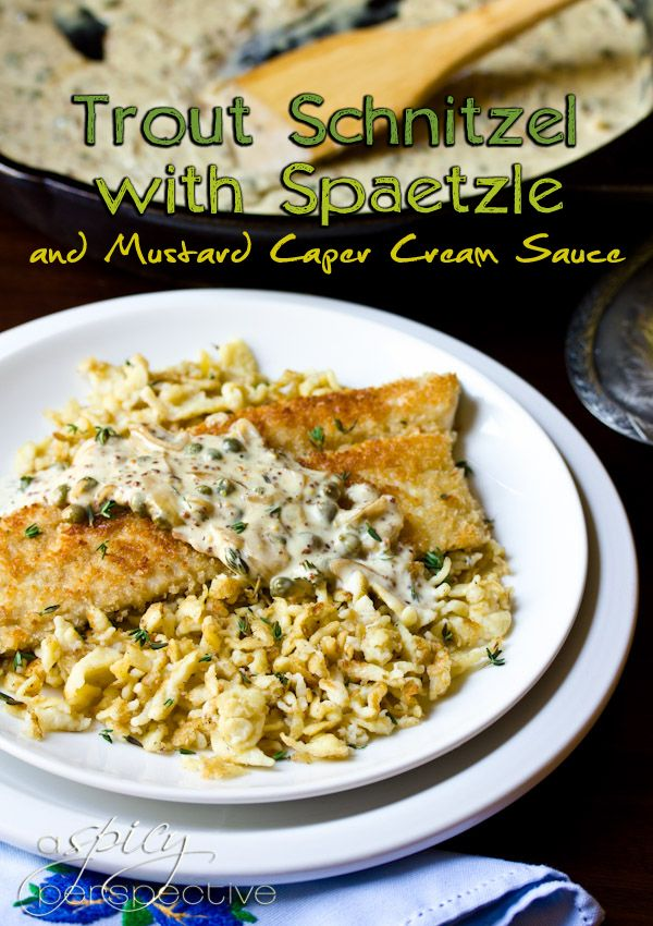 Trout schnitzel with spaetzle and mustard cream sauce
