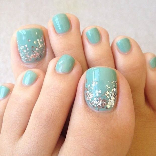 Turquoise toe nail design - Pedicures Just Got Better With These 50 Cute Toe Nail Designs!