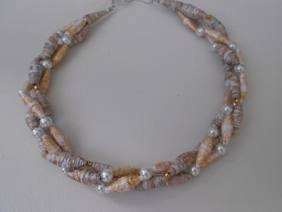 Twisted paper bead necklace