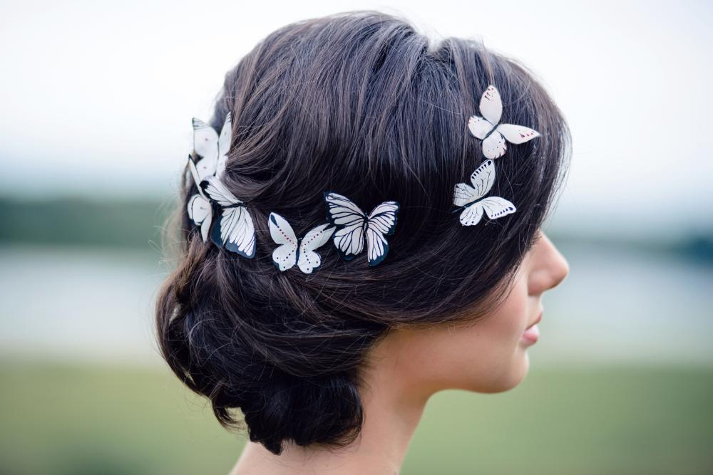 Updos for long hair with butterflies