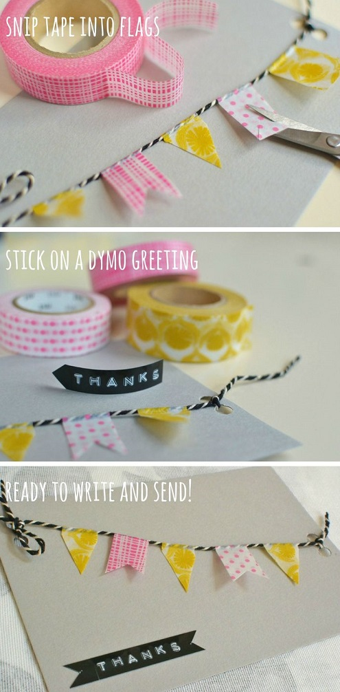Cute diy birthday card ideas washi tape and string birthday banner card solutioingenieria Images