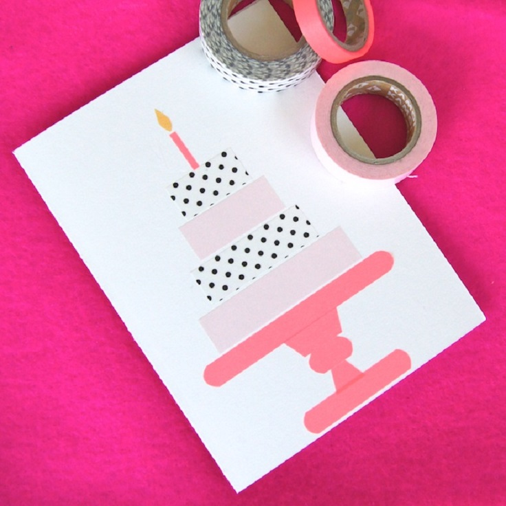 Do You Love The Idea Of Making A Birthday Card With Washi Tape But Candle Design Is Little Too Simple To Try Tiered Cake