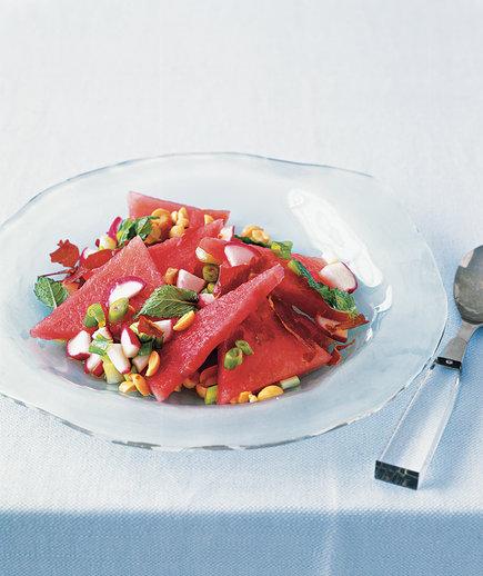 Watermelon salad with mint and crispy prosciutto