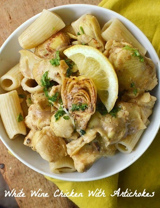 White wine chicken and artichokes