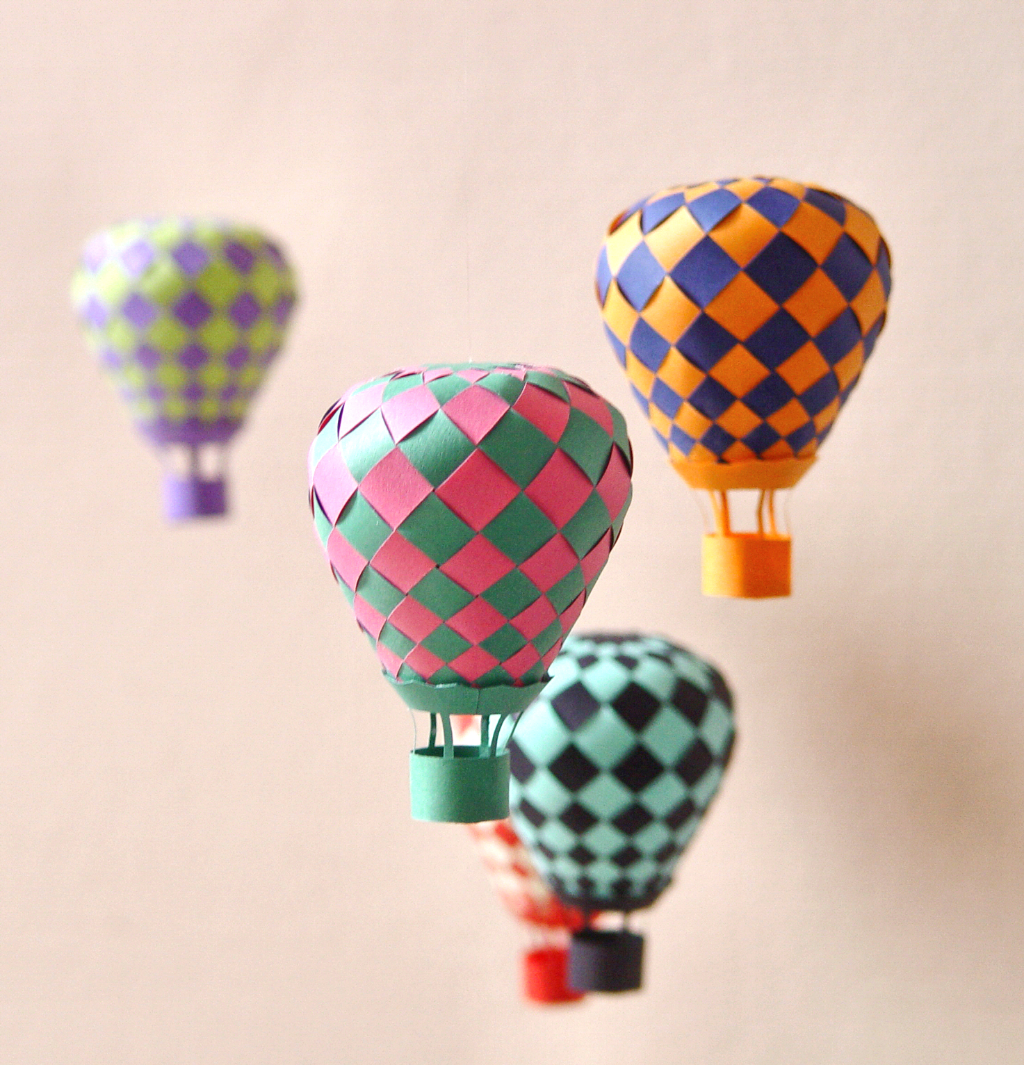 Woven paper hot air balloons