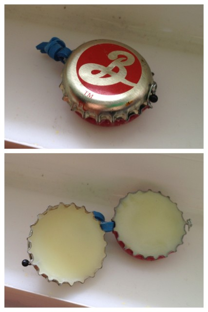 Bottle cap diy lip balm