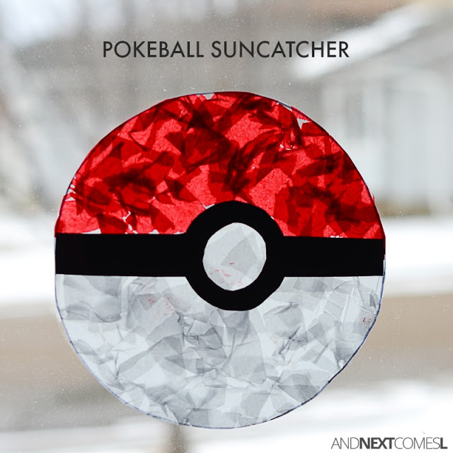 Boy crafts pokemon craft for kids pokeball suncatcher square