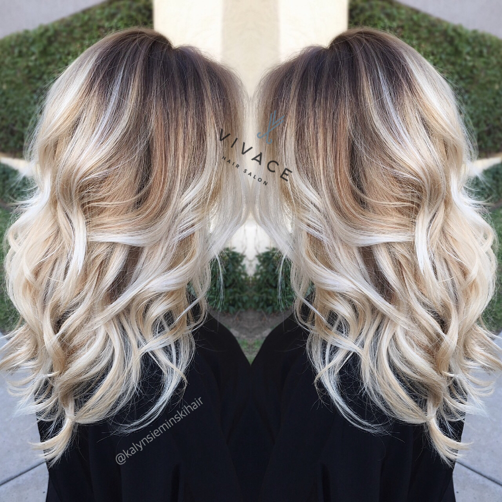 Bright blonde balayage hairstyle