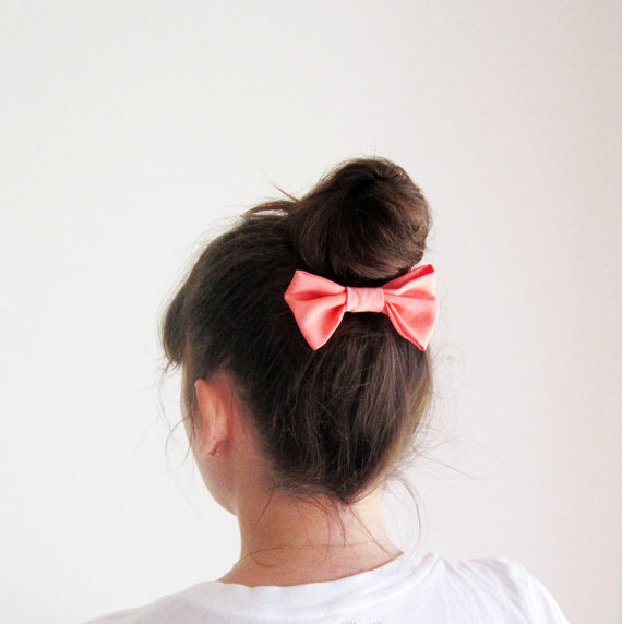 Bun with bow long hairdo