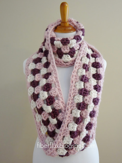 Cherries in bloom crochet infinity scarf