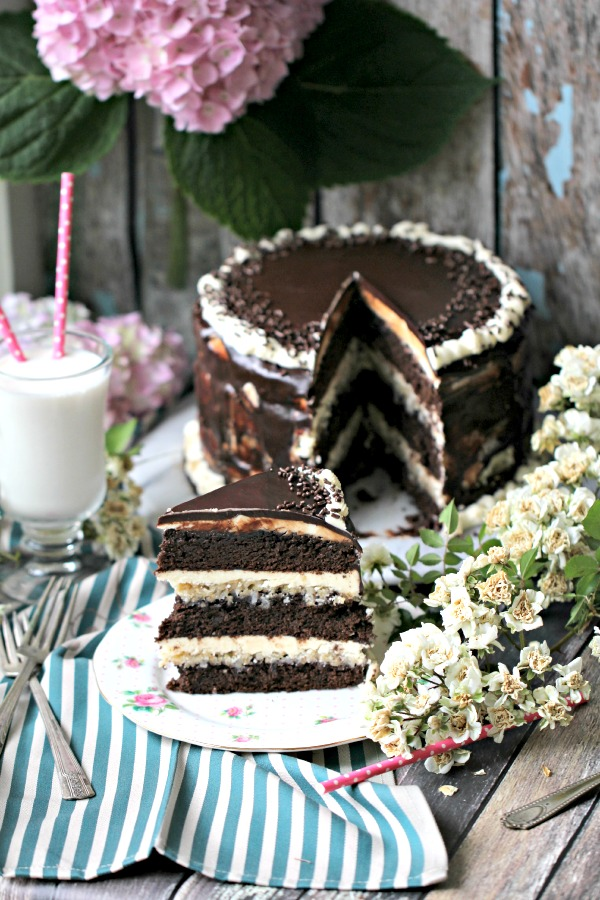 Chocolate brownie layer cake