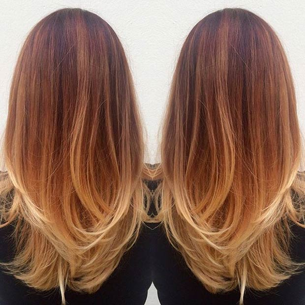 Copper hair blonde lowlights balayage hairstyle