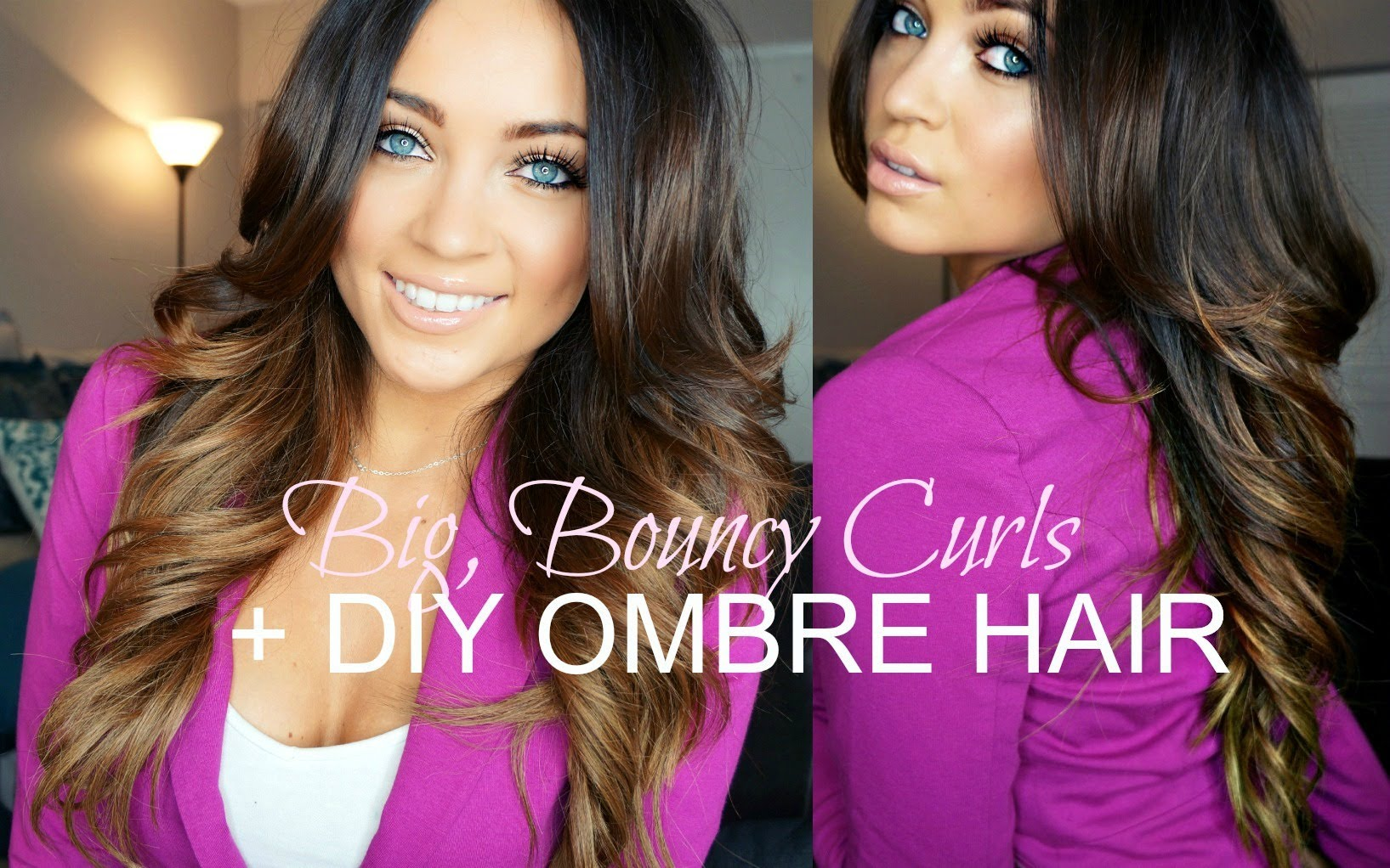 Curled ombre hair tutorial at home
