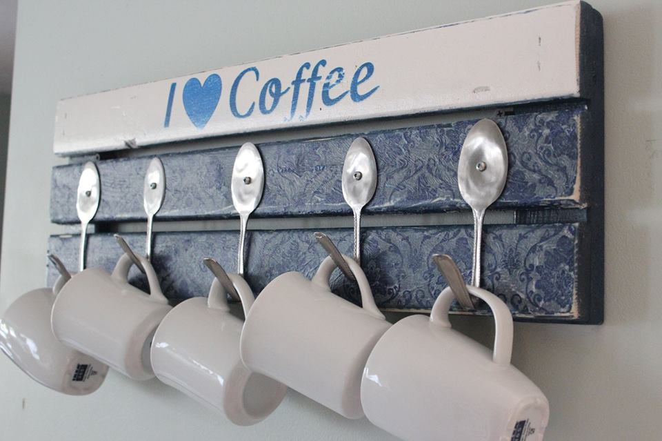 Diy pallet coffee mug holder with spoon hooks