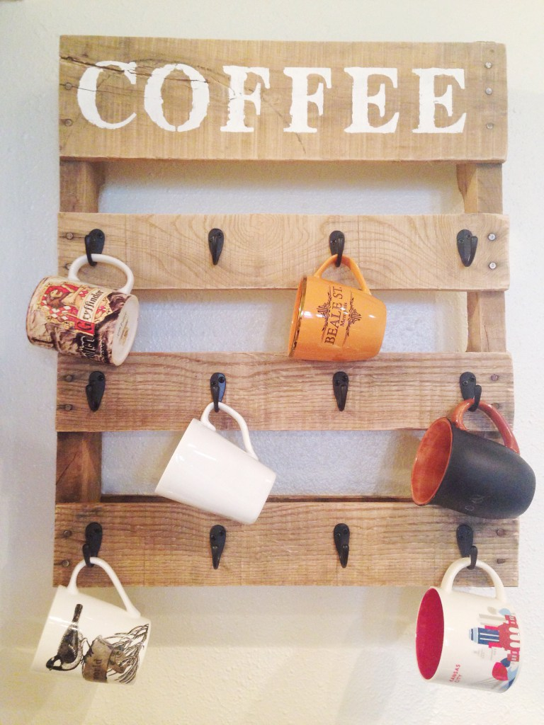 Diy pallet coffee rack