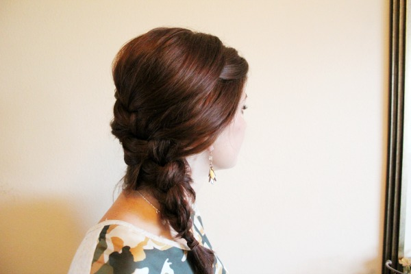 Easy side french braid long hairdo