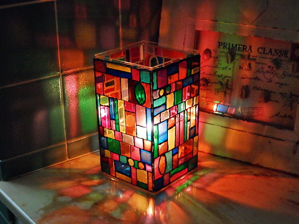 Faux stain glass luminary