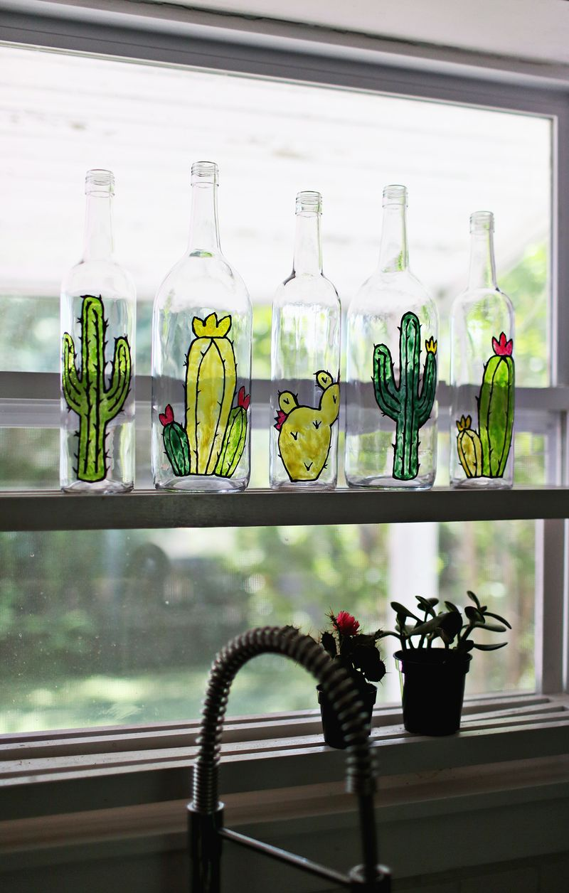 Faux stained glass bottles